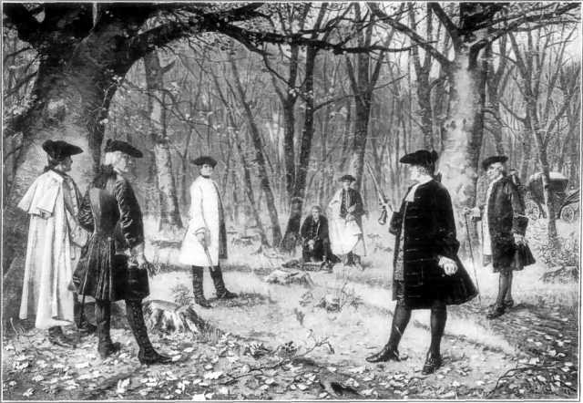 Painting of the duel between Alexander Hamilton and Aaron Burr