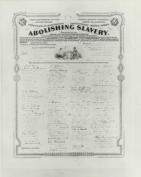13th Amendment Abolishing Slavery