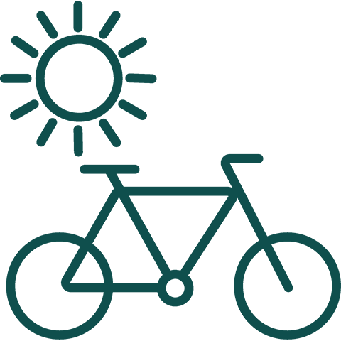 Clip art of a bike and the sun