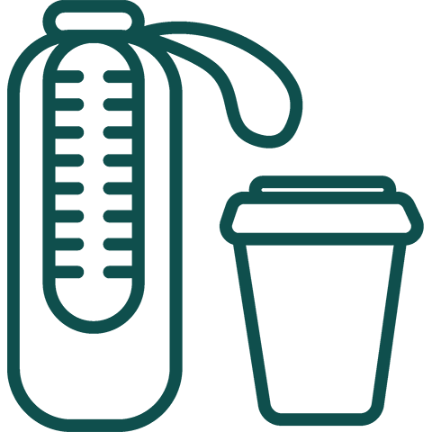 Clip art of a water bottle and a coffee cup