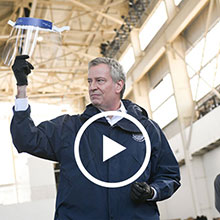 Mayor Bill de Blasio Visits New Medical Supply Factory in Brooklyn Navy Yard
