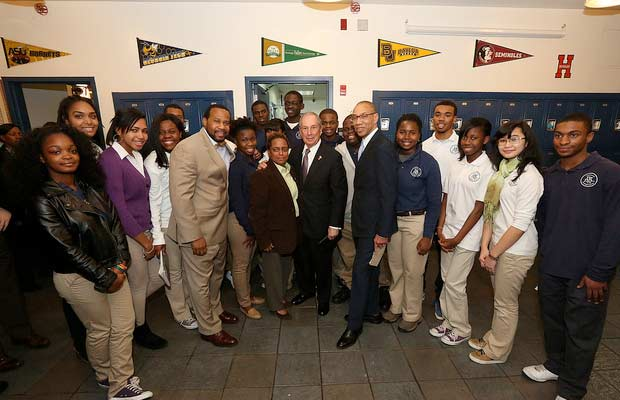 Mayor Bloomberg with Bedford Academy students