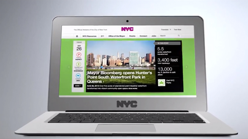 The new NYC.gov as viewed on a laptop.