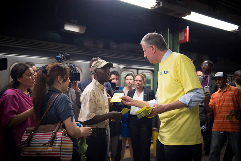 Mayor de Blasio Speaks With Volunteers at Paid Sick Leave Day of Action