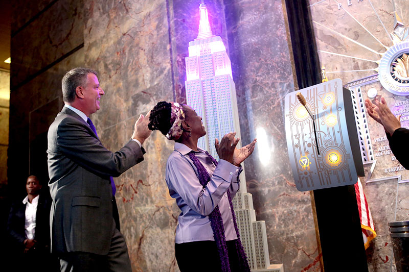 Mayor de Blasio, First Lady Chirlane Mccray And Office To Combat Domestic Violence Commissioner Pier