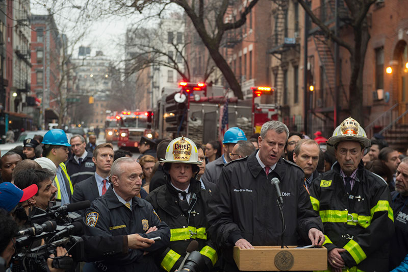 Mayor de Blasio Delivers Remarks on East Village Building Collapse