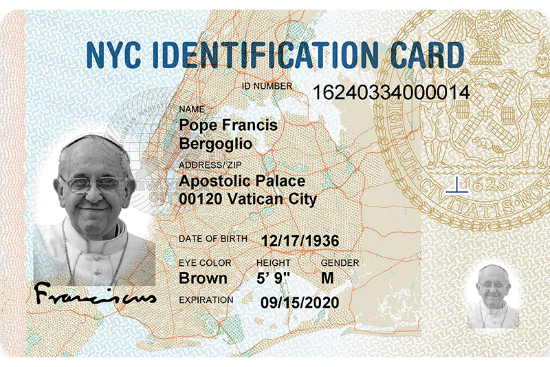 Pope Francis becomes the newest IDNYC cardholder, joining over 540,000 New Yorkers