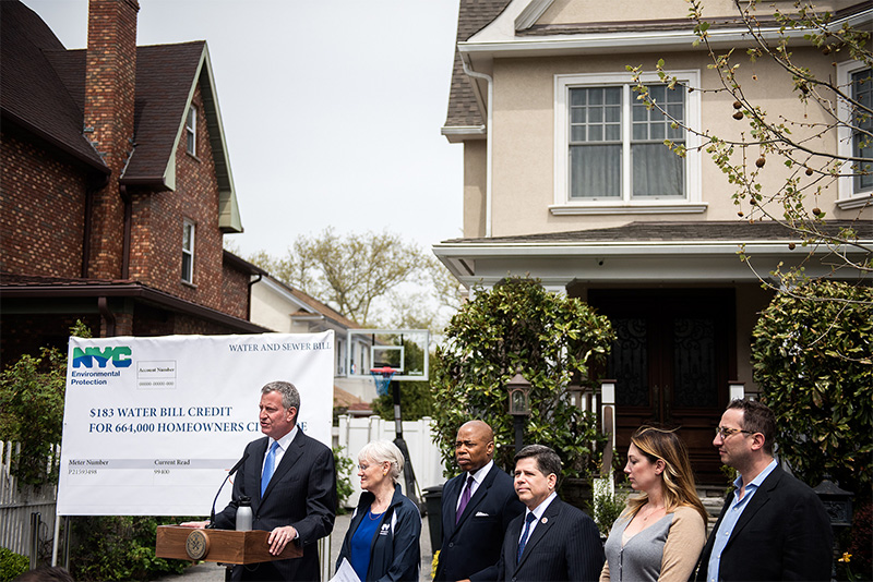 Mayor de Blasio Proposes $183 Credit on Water & Sewer Bills for Over 664,000 Homeowners