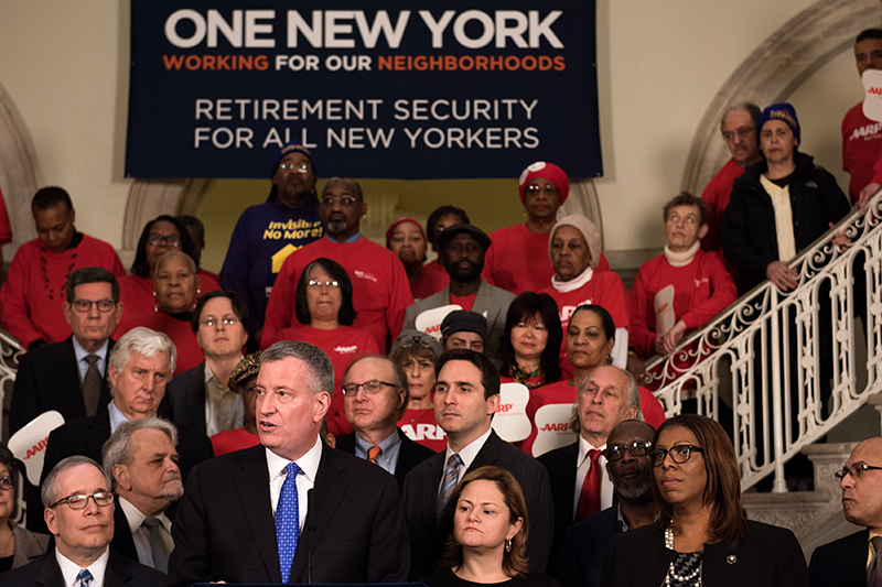Mayor de Blasio Leads Rally for Retirement Security for all New Yorkers