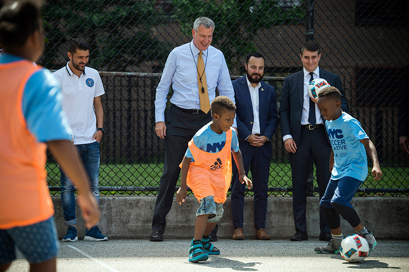 Mayor de Blasio Launches NYC Soccer Initiative