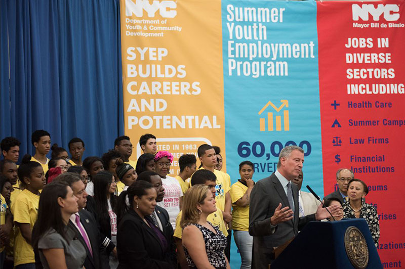 Mayor de Blasio Kicks Off Summer Youth Employment Program with Record 60,000 Jobs
