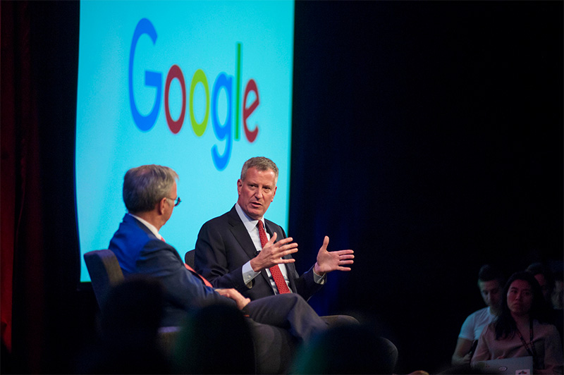 Mayor de Blasio Joins Alphabet Chairman Eric Schmidt to Mark Next Phase of Growth for Google