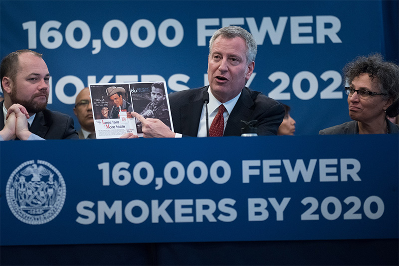 De Blasio Administration Announces Sweeping Legislation to Curb Smoking, Tobacco Usage