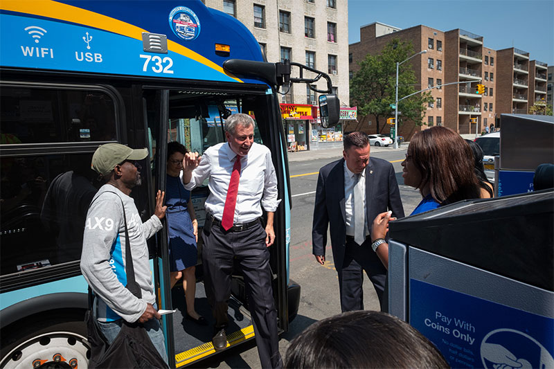 Mayor de Blasio Joins Bus Riders to Inaugurate First Workday of BX6 Select Bus Service