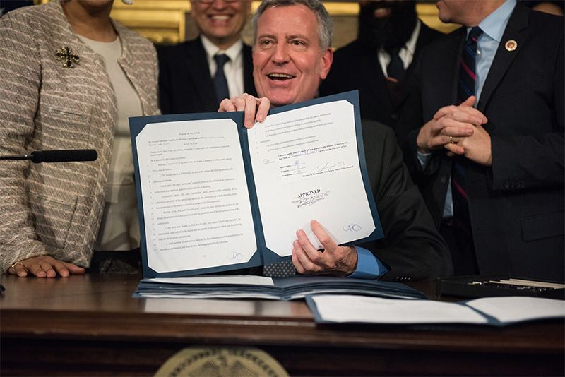Mayor de Blasio Signs Legislation Increasing Funding for the Percent for Art Program