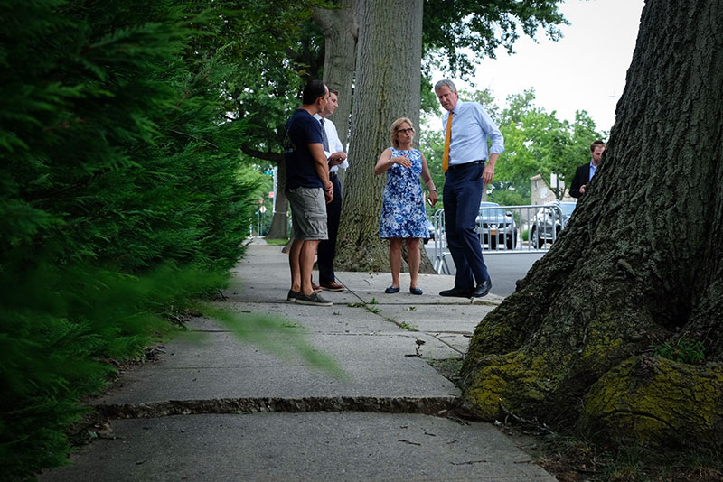 Mayor de Blasio Highlights NYC Parks' Trees and Sidewalks Repair Program