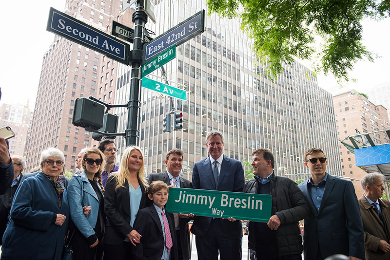 "Mayor de Blasio to Name East 42nd Street Between 2nd and 3rd Avenues ""Jimmy Breslin Way"""