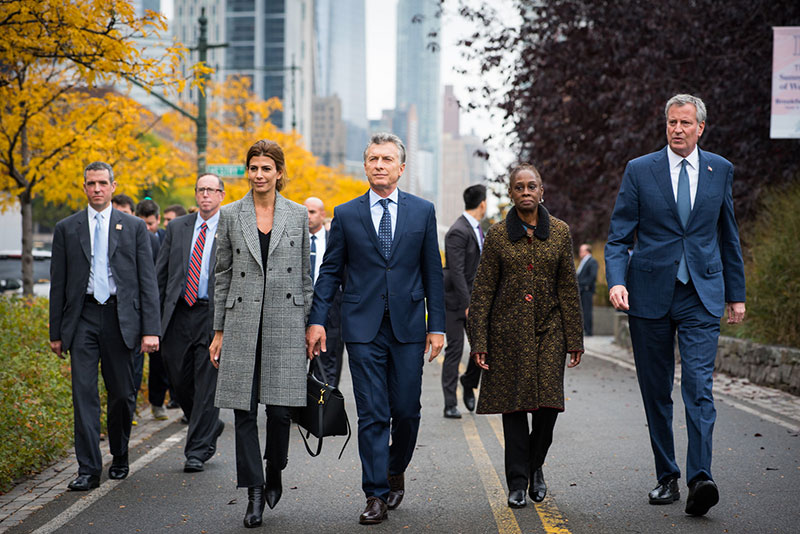 NYC Mayor Bill de Blasio and First lady Chirlane McCray join Argentina President Mauricio Macri and