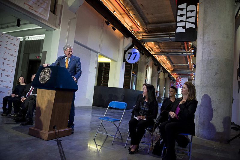 Mayor de Blasio Opens One of Largest Manufacturing Spaces in Decades, Building 77 in Brooklyn Navy Y
