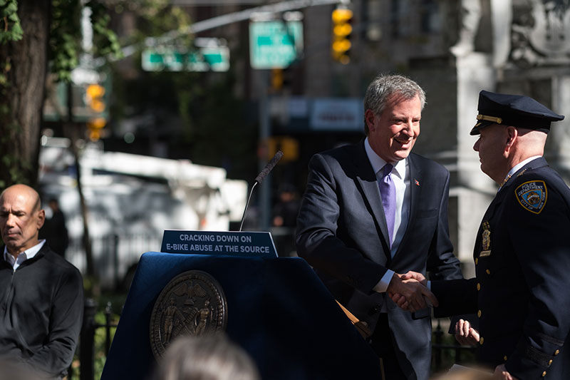 Mayor de Blasio and NYPD Announce Plans to Crack Down on Improper Use of Electric Bikes