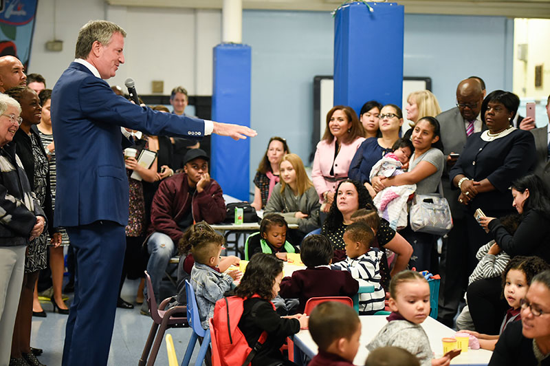 Mayor de Blasio and Chancellor Fariña Kick of First Day of School with Launch of 3-K for All