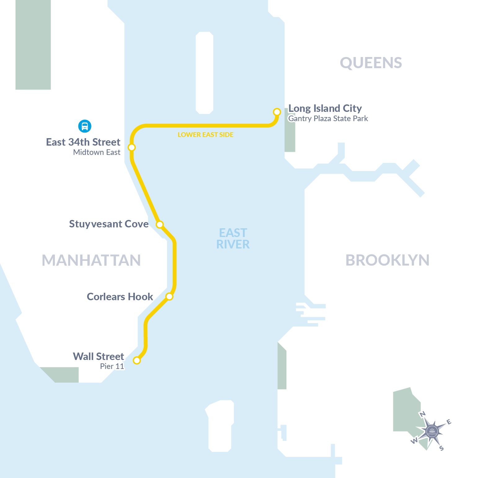 connects Long Island City, the Lower East Side and Lower Manhattan Route
