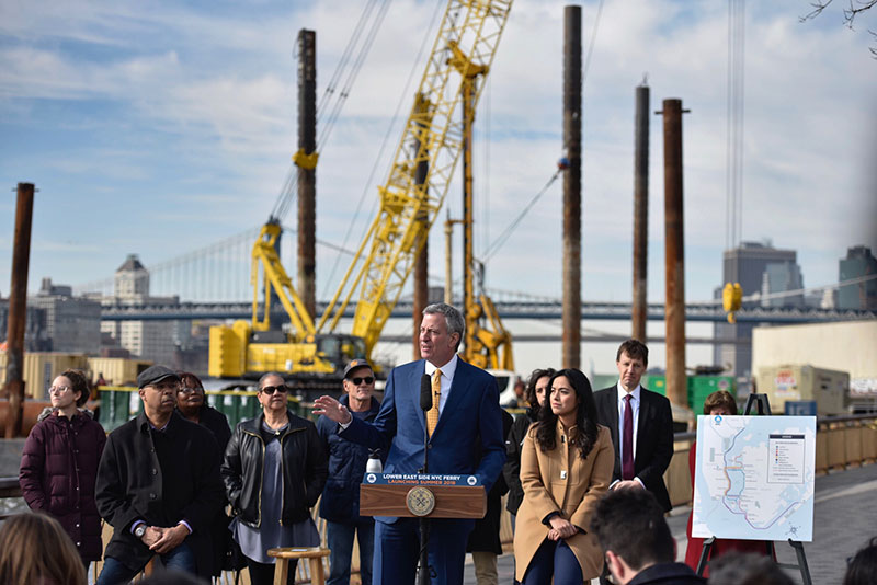 Mayor de Blasio Announces Construction of Lower East Side NYC Ferry Dock, Opening Summer 2018