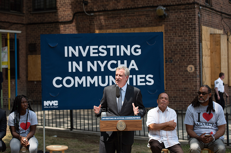 Mayor de Blasio Delivers Remarks at Construction Kick Off of the Marcy Houses' Community Center