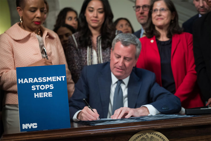 Mayor de Blasio Signs Legislation Strengthening Protections Against Sexual Harassment