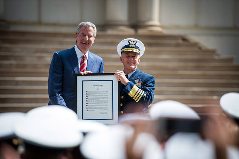 Mayor de Blasio Celebrates Designation of New York City as an Official Coast Guard City