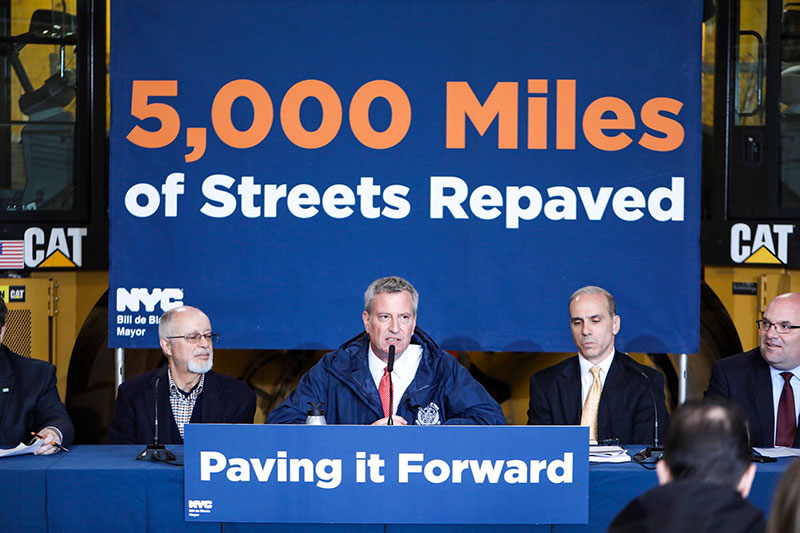 Pave Baby Pave: Mayor de Blasio Announces Record 5,000 Lane Miles Of City Roadways Have Been Repaved