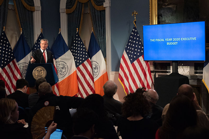 Mayor de Blasio Releases Executive Budget for Fiscal Year 2020