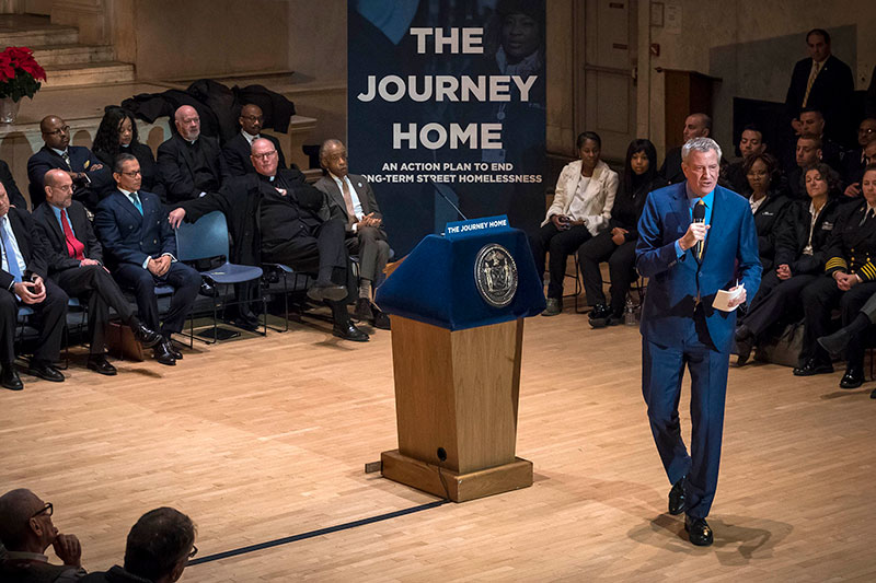 Mayor de Blasio Announces Plan That Will End Long-Term Street Homelessness in New York City