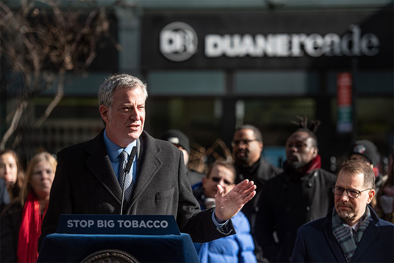 Mayor de Blasio Celebrates Ban on Tobacco Products in Pharmacies