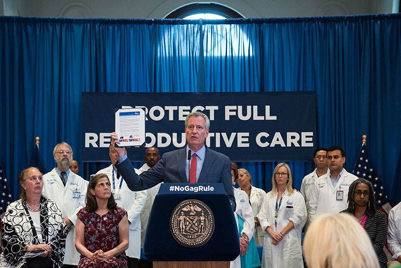 "Mayor de Blasio and NYC Health + Hospitals Reject Federal Funding Tied to New ""Gag Rule"""
