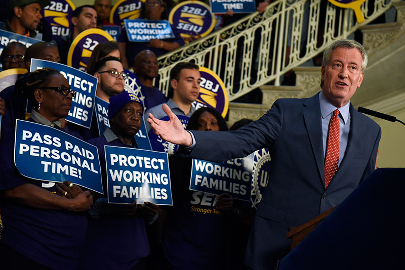 Mayor de Blasio Rally for New Paid Personal Time Legislation Benefitting Nearly 1 Million New Yorker