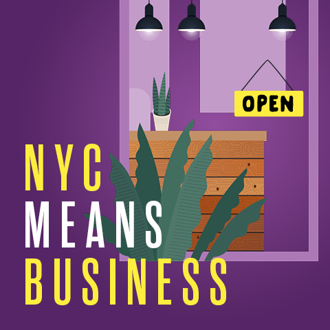 Graphic of business storefront with text: NYC Means Business