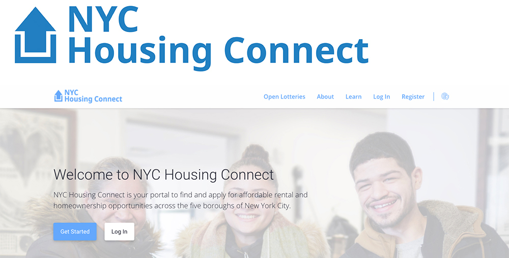 screen shot of the new nyc housing connect website