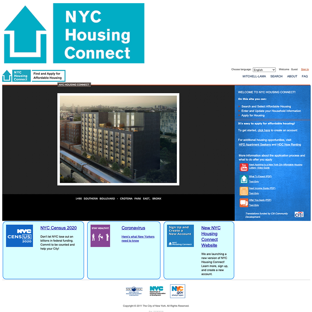 screen shot of the original nyc housing connect website