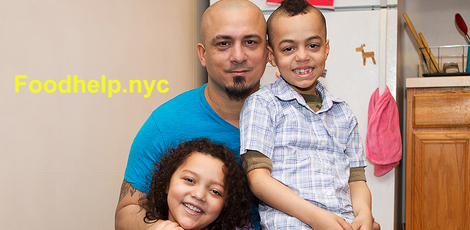 Miguel, his two kids, address for Foodhelp.nyc