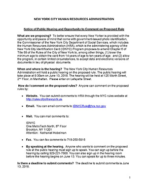 Notice of Public Hearing and Opportunity to Comment on Proposed Rule – Amendments to IDNYC Rule