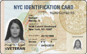 Front of an IDNYC Card