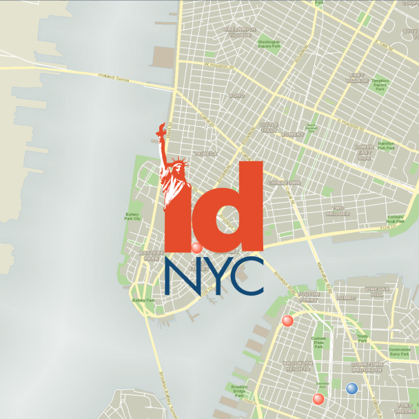 Map with an IDNYC logo overlay