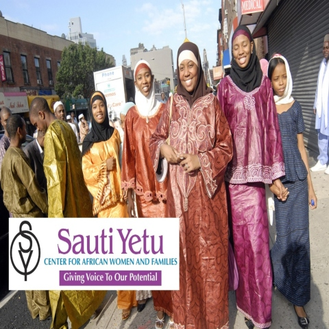 Sauti Yetu logo with people in background