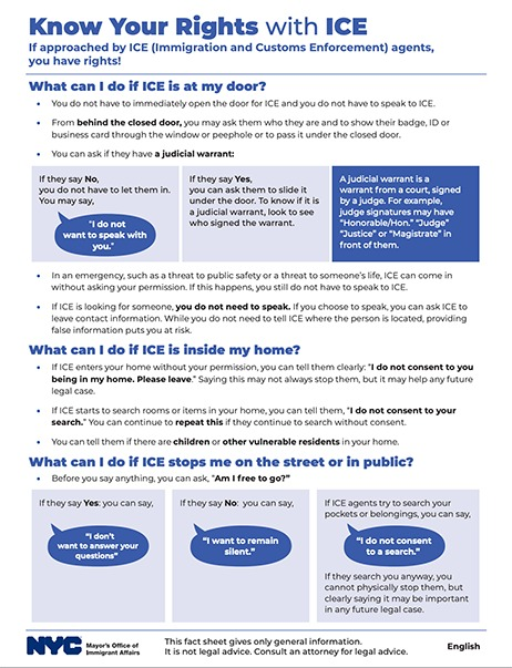 First page of the Know Your Rights with ICE Fact Sheets