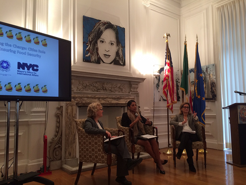 Commissioner Penny Abeywardena in conversation with Barbara Turk, NYC Director of Food Policy and  Natalia Quintavalle, Consul General of Italy at the Italian Consulate residence.