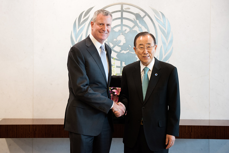 Mayor de Blasio and Secretary-General Ban Ki-Moon in the General Assembly Hall