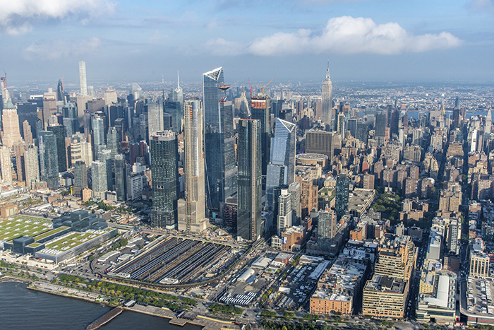 Aerial view of Hudson Yards development as of October 2018