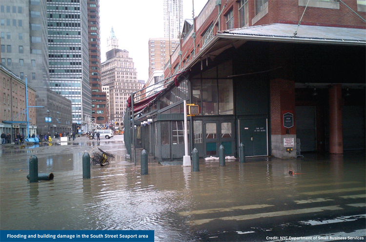 Flooding and building damage in the South Street Seaport area