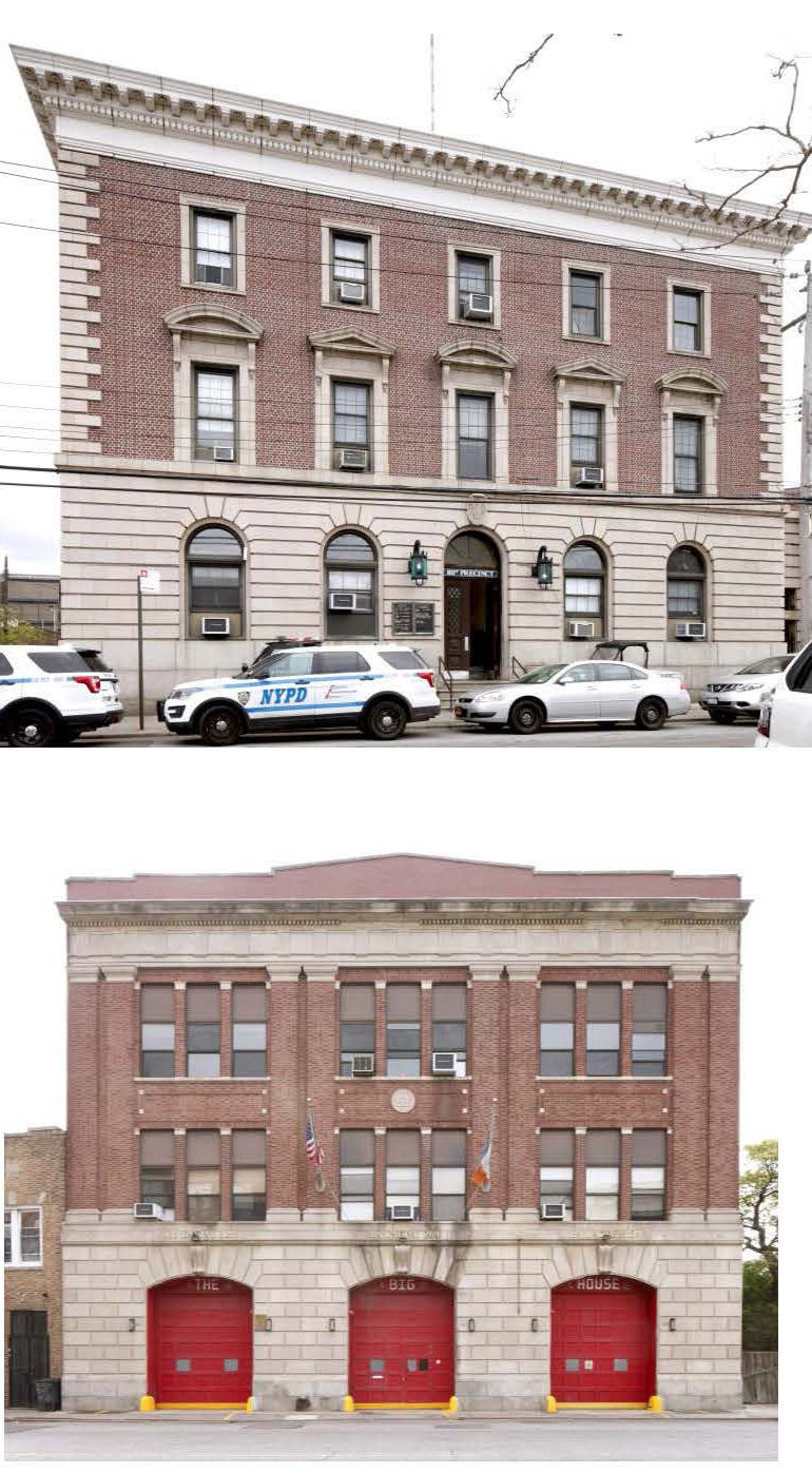 the Firehouse, Engine Companies 264 & 328/Hook and Ladder 134 at 16-15 Central Avenue, and the 53rd (now 101st) Precinct Police Station at 16-12 Mott Avenue